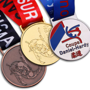 Custom gold, silver and copper judo Medals