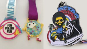 Custom running shoe medals