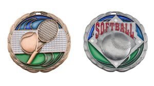 Custom tennis medals burning with passion